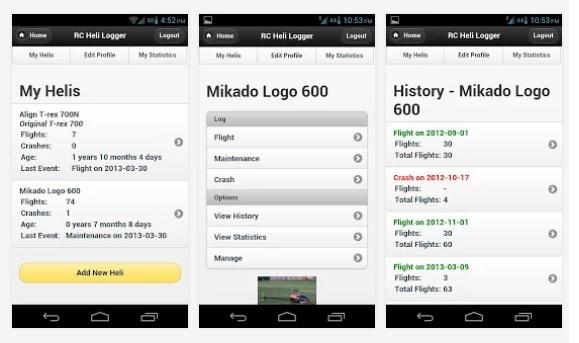 Новое приложение на Андроид: RC Heli Logger