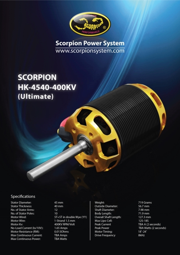 Новинка!!! Scorpion HK-4540-400Kv Ultimate для 14s~18s